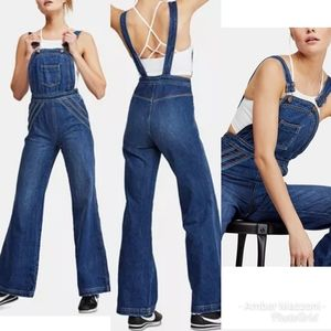 Free People Chaaing Rainbow overalls